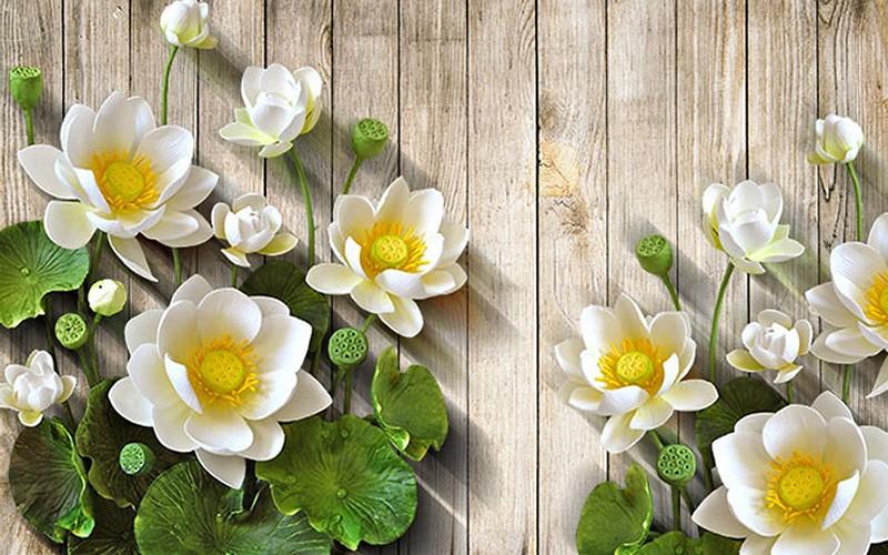 Mẫu vẽ tranh tường 3d hoa sen