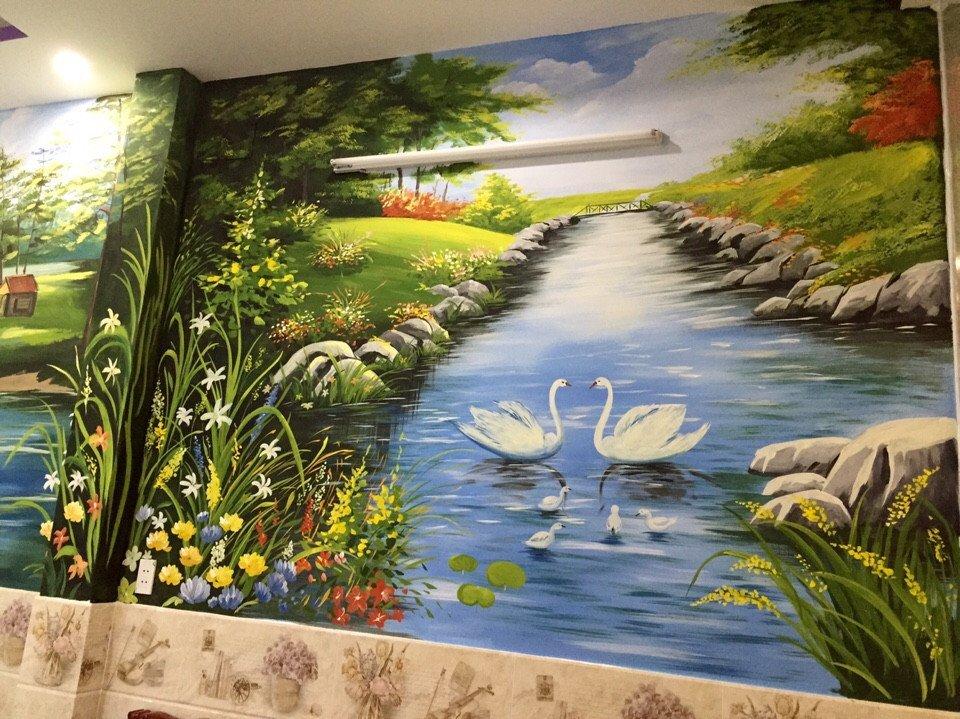 Tranh sơn tường phong cảnh đẹp