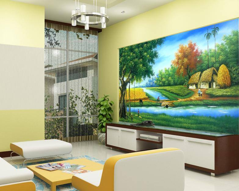 Tranh sơn tường phòng khách đẹp