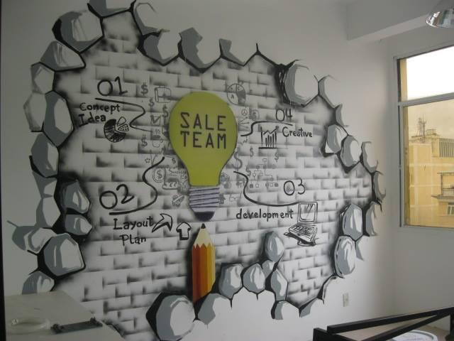 Tranh tường 3d đẹp cho văn phòng