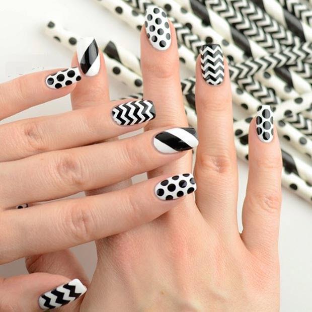 Mẫu nail đen trắng cực đẹp