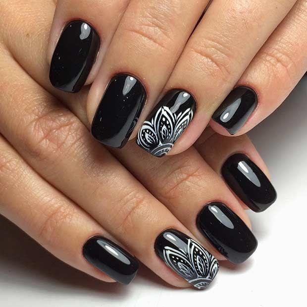Mẫu nail màu đen đẹp