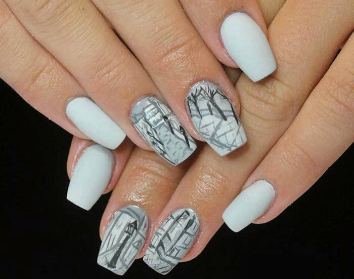 Mẫu nail màu trắng đẹp