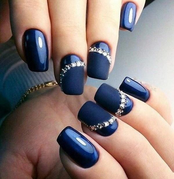 Mẫu nail màu xanh dễ thương
