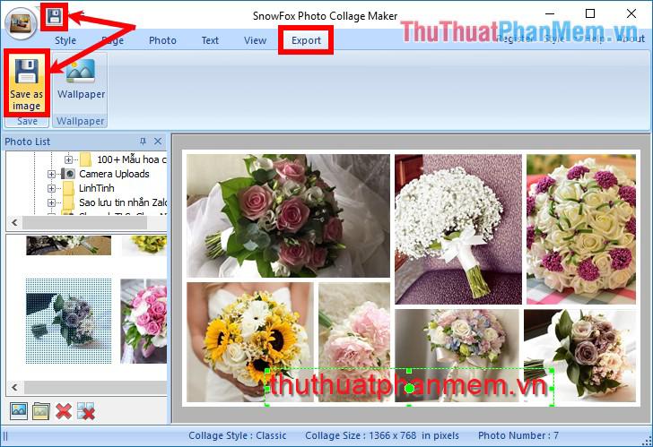 Chọn biểu tượng Save hoặc chọn Export - Save as image