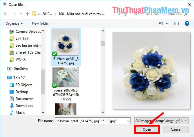Chọn đến thư mục chứa file ảnh cần ghép