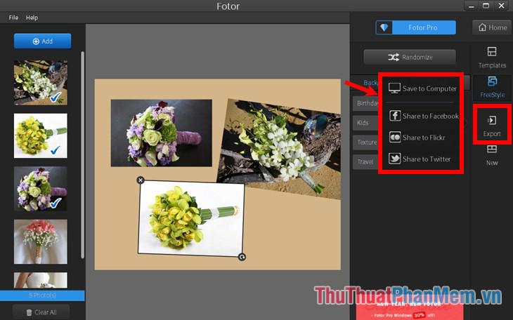Chọn mục Export, chọn lưu ảnh về máy tính hoặc chia sẻ ảnh