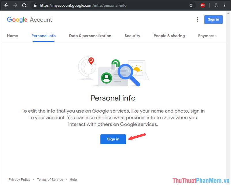 Click mục Sign in để tiến hành đăng nhập