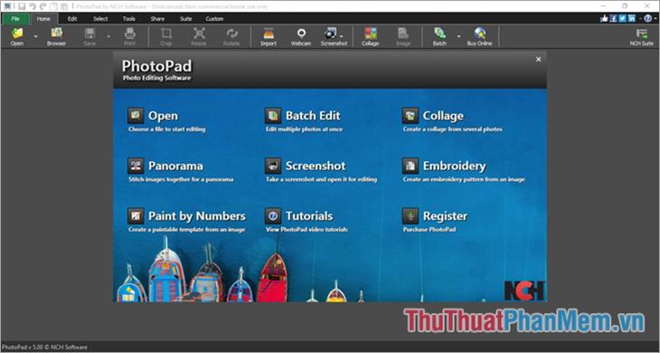 Giao diện phần mềm PhotoPad