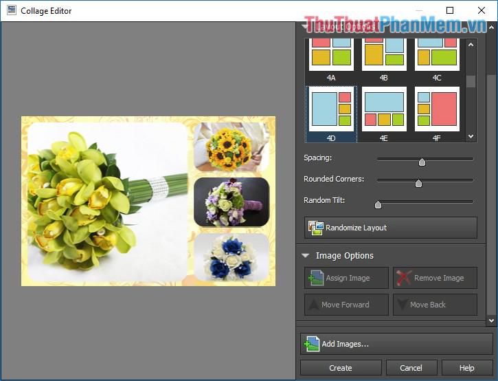 Hình ảnh sẽ được tự động thêm vào các khung hình