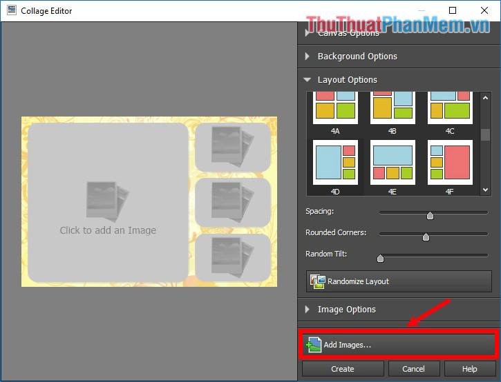 Nhấn chọn Add Images để thêm hình ảnh vào phần mềm