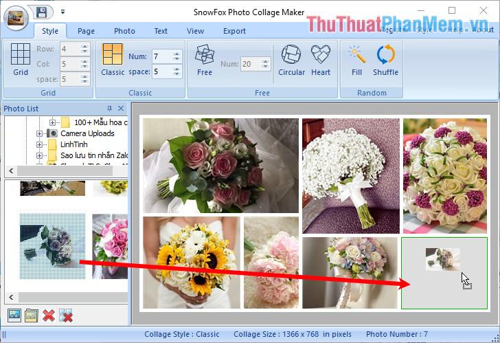 Nhấn giữ chuột lần lượt vào các hình ảnh và kéo vào khung hình