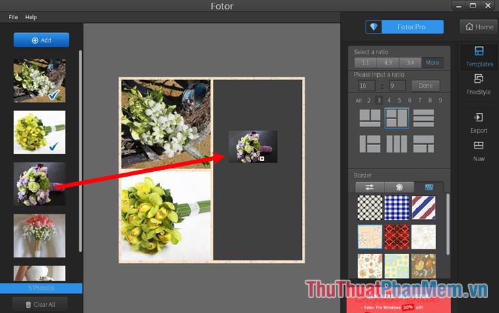 Nhấn giữ vào hình ảnh và kéo vào từng vị trí khung hình
