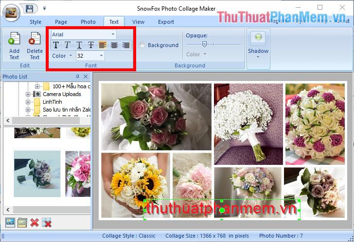 Thay đổi kiểu chữ, màu và kích thước chữ trong phần Font của thẻ Text