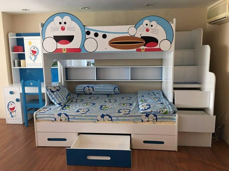 Giường 2 tầng cho bé in hình Doremon dễ thương GTE109
