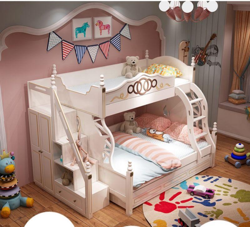 Giường 2 tầng công chúa có tủ quần áo + ngăn kéo GTE085