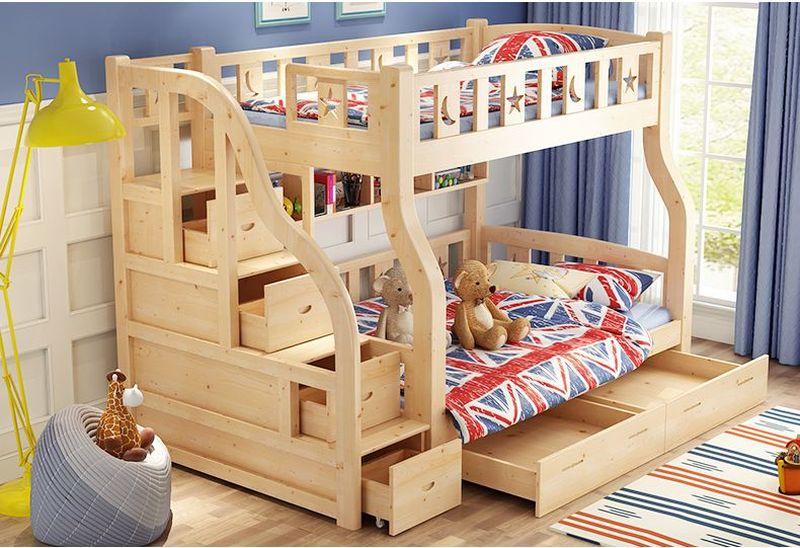 Giường ngủ 2 tầng trẻ em đẹp có ngăn kéo GTE055