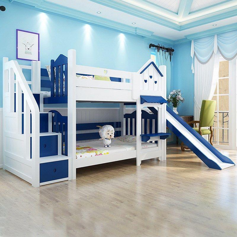 Giường ngủ kiểu ngôi nhà có cầu trượt GTE052