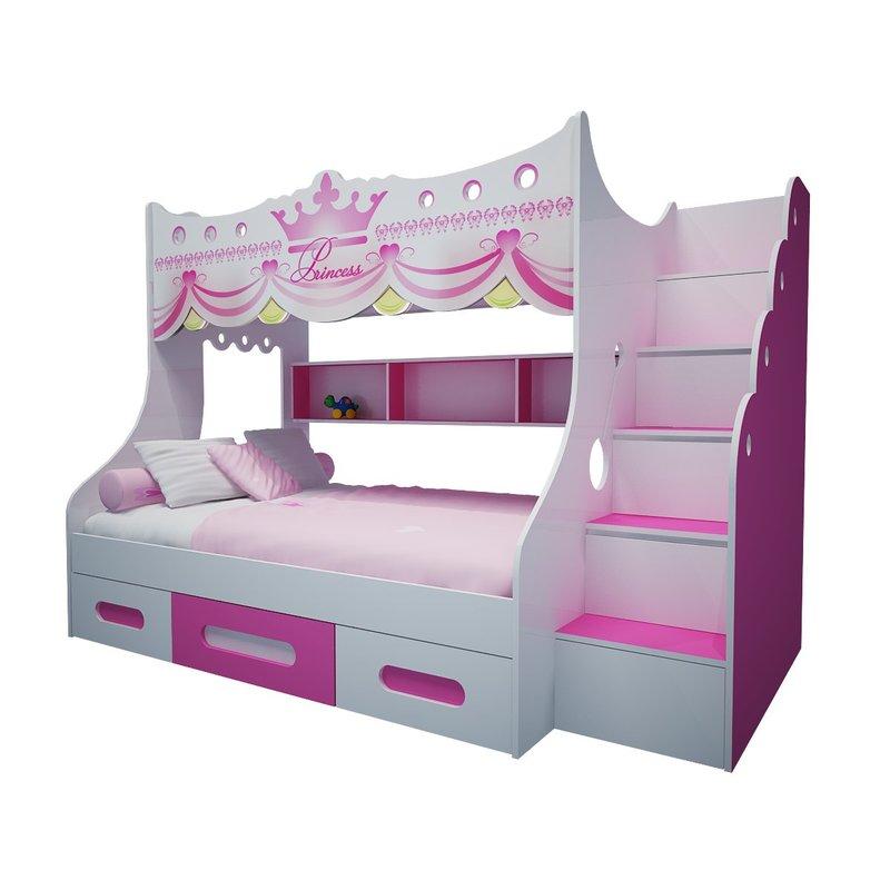 Giường tầng công chúa có ngăn kéo chứa đồ GTE105