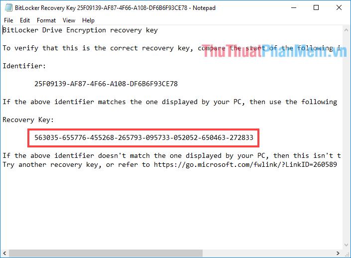 Copy đoạn mã ở dòng Recovery Key
