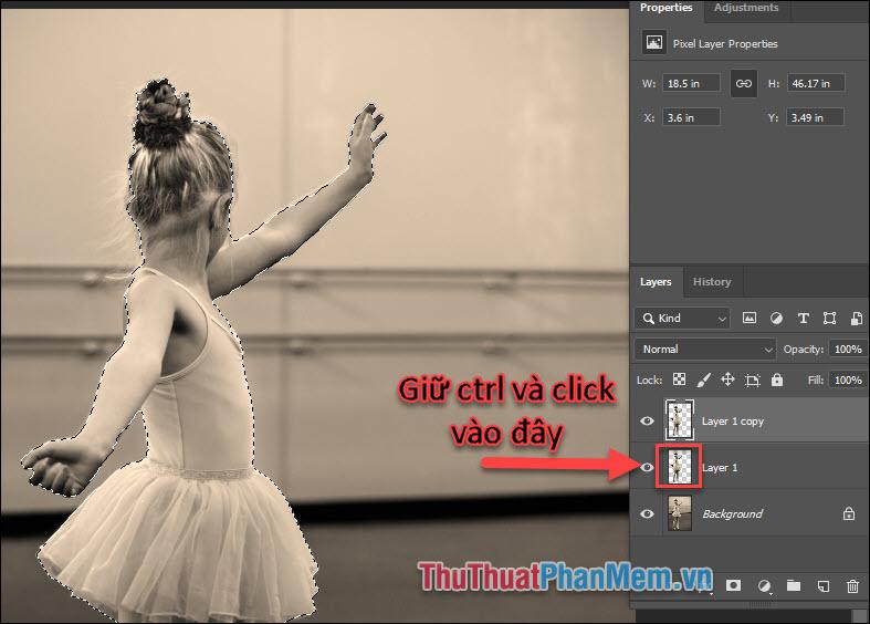 Ctrl và click vào hình thumbnail của Layer 1