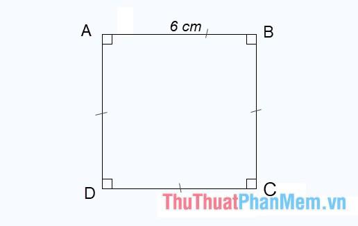Hình vuông ABCD có độ dài cạnh là 6 cm