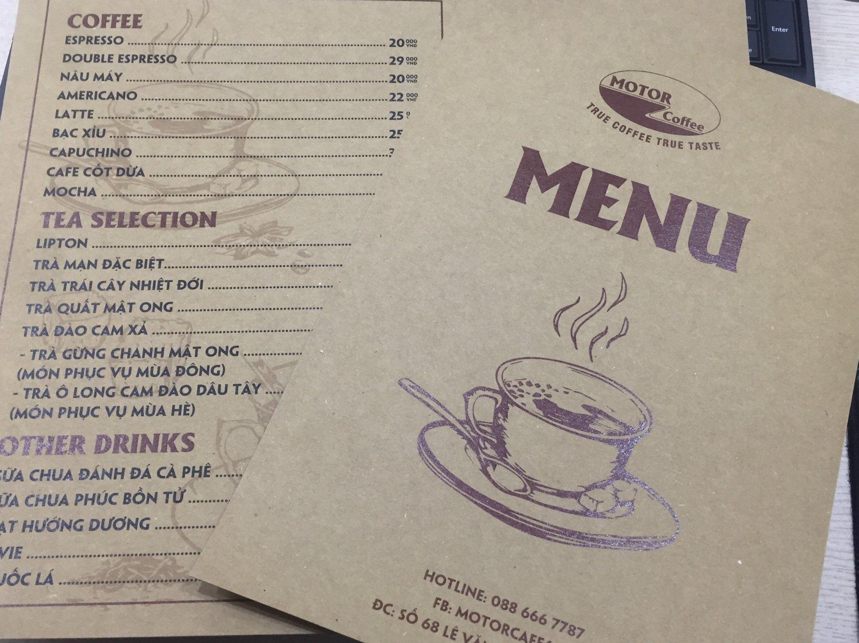 Mẫu menu cafe bìa giấy đơn giản