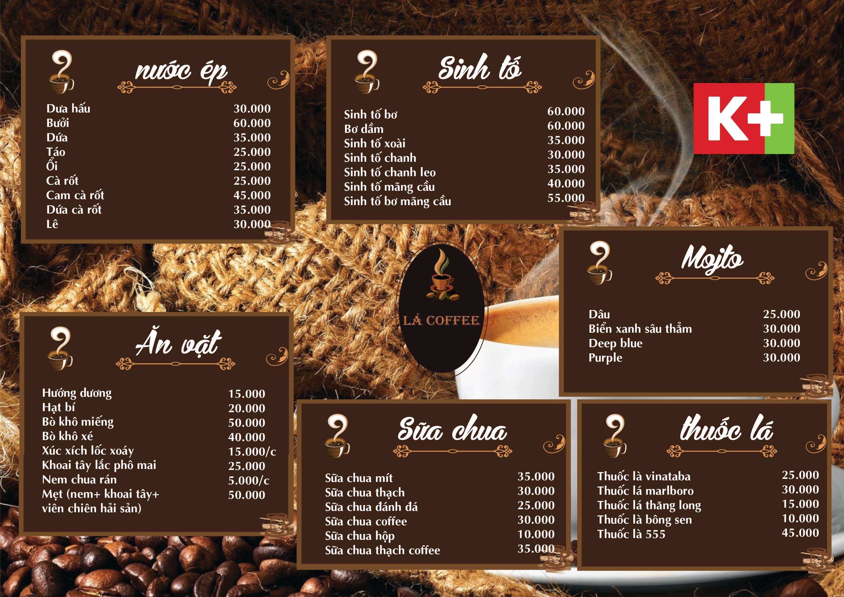 Mẫu menu cafe đẹp và độc đáo
