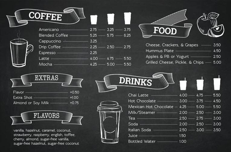 Mẫu menu cafe đẹp và đơn giản