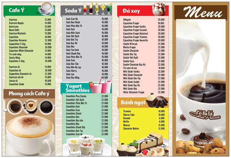 Mẫu menu cafe đơn giản và bắt mắt