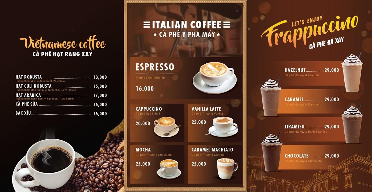 Mẫu menu cafe đơn giản và đẹp