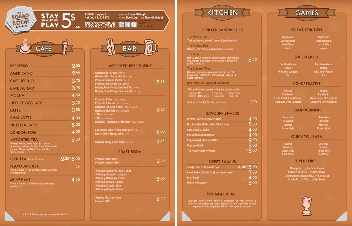 Mẫu menu cafe tiếng anh