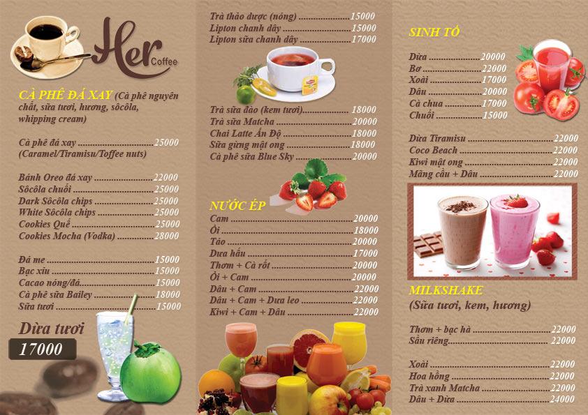 Mẫu menu quán cafe đơn giản