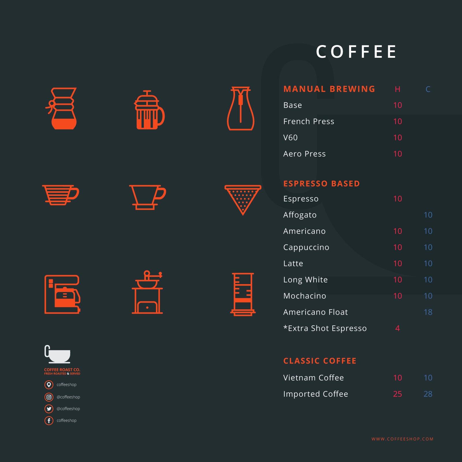 Menu cho quán cafe đơn giản và đẹp