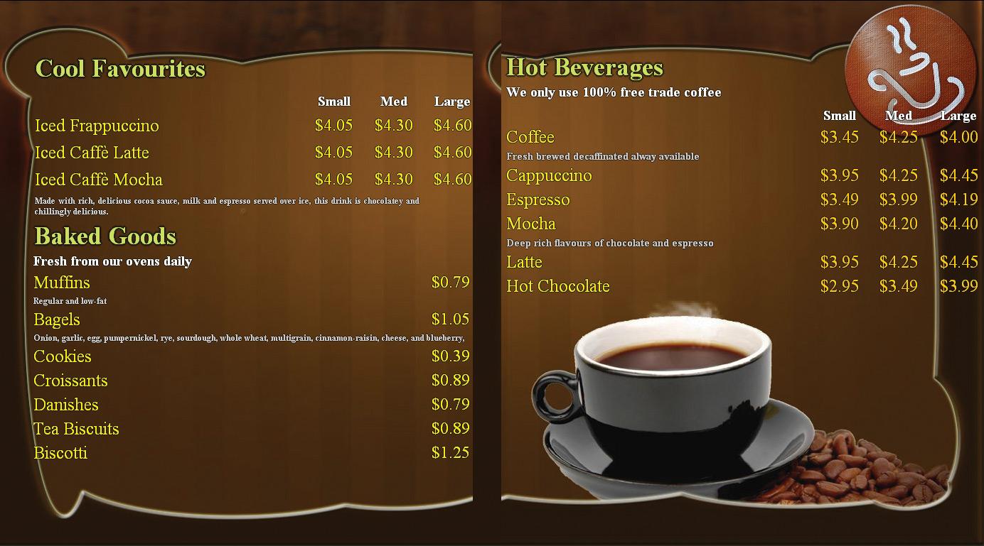 Những mẫu menu cafe đẹp và đơn giản
