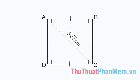 Tính diện tích hình vuông ABCD