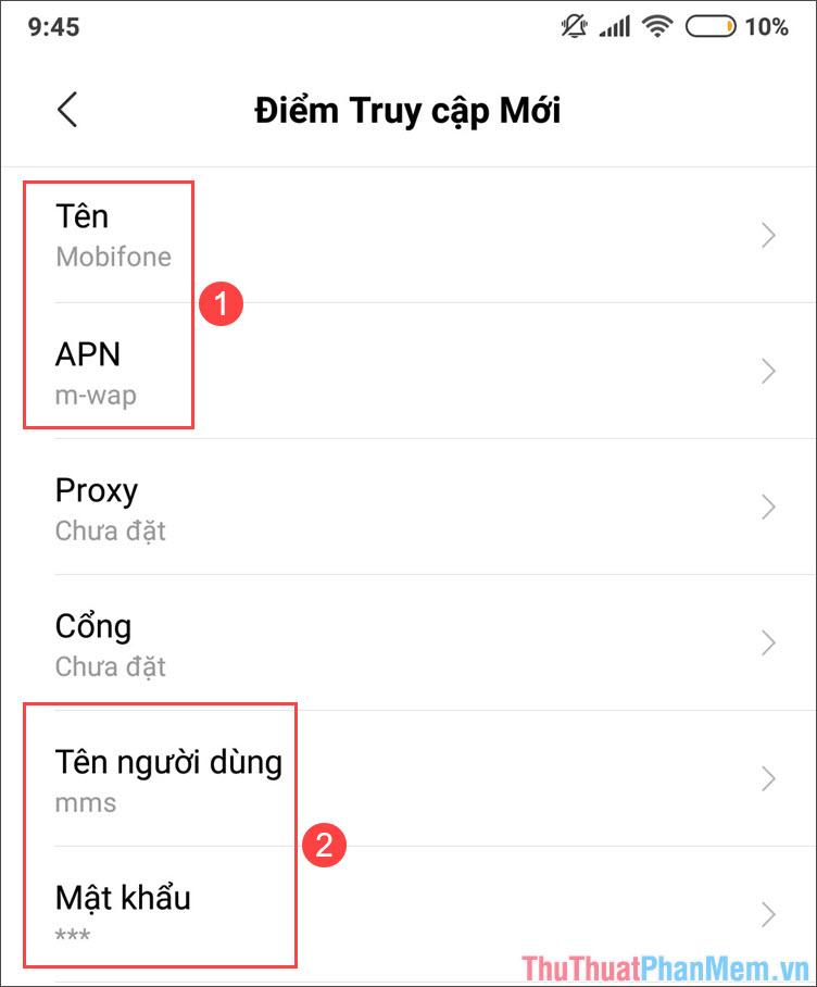 APN mạng Mobifone