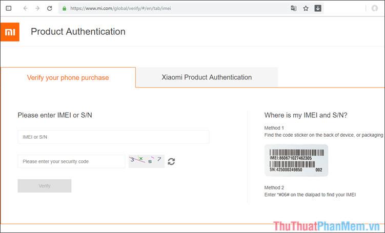 Check IMEI Xiaomi trên máy chủ