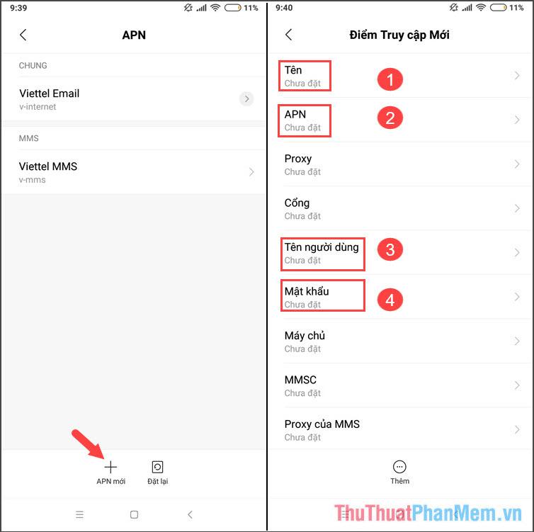 Chọn tiếp mục APN mới để thêm APN