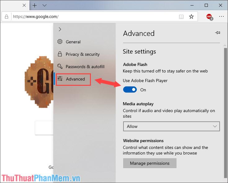 Chuyển qua thẻ Advanced và gạt công tắc Use Adobe Flash Player sang On