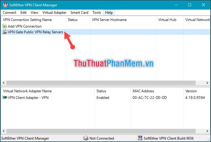 Kích đúp vào dòng VPN Gate Public VPN Relay Servers