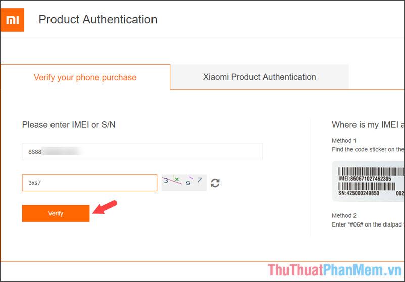 Nhập số IMEI trên máy và mã xác nhận rồi bấm chọn Verify