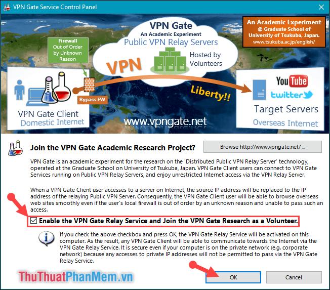 Tích chọn dòng Enable the VPN Gate Relay Service...