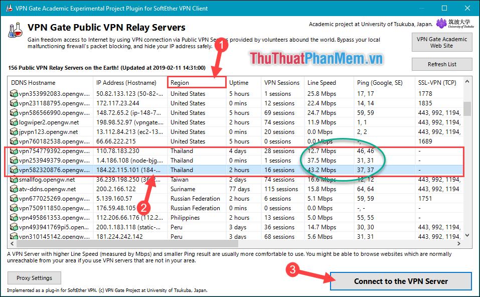 Tìm kiếm địa chỉ IP của Thailand