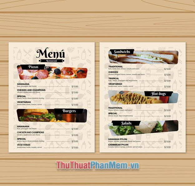 Mẫu menu nhà hàng phong cách Châu Âu