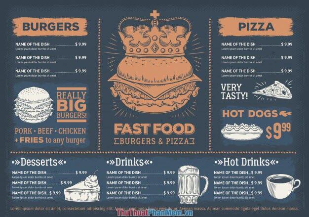 Mẫu menu thực đơn đồ ăn nhanh phong cách cổ điển nước ngoài