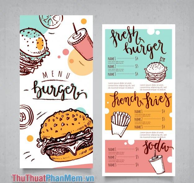 Mẫu menu thực đơn nhà hàng bán Humburger