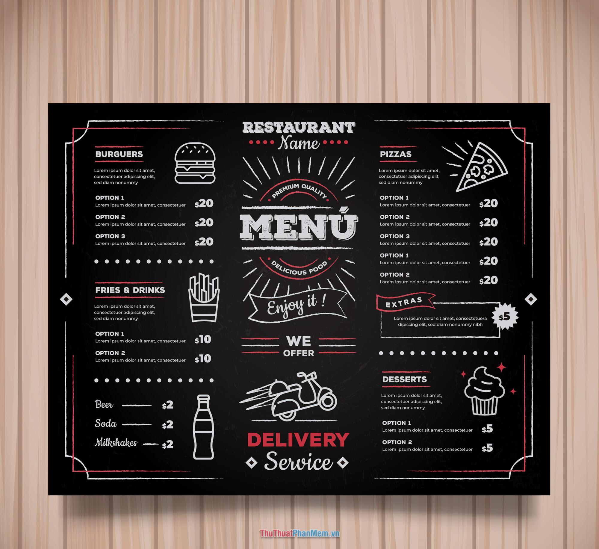 Mẫu menu thực đơn nhà hàng cao cấp và hiện đại