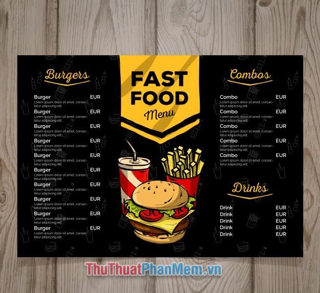 Mẫu menu thực đơn nhà hàng chuyên đồ ăn nhanh