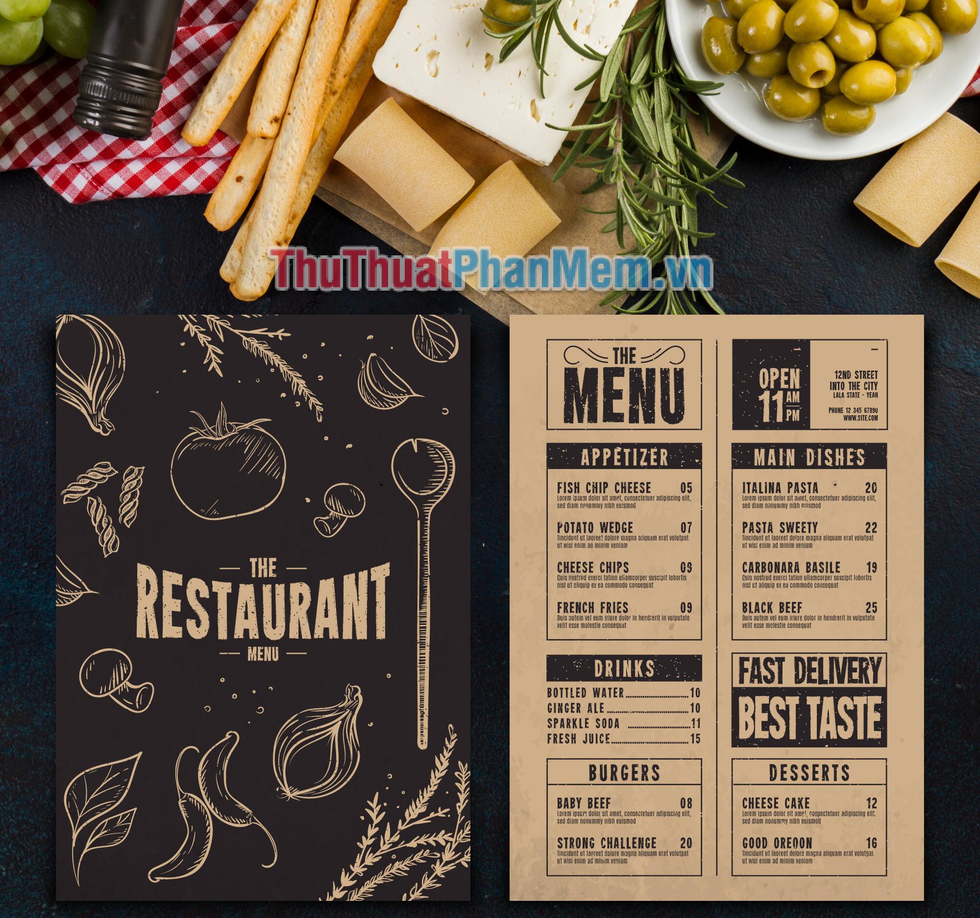 Mẫu menu thực đơn nhà hàng đẹp và sang trọng